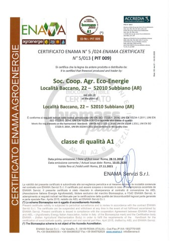 BIOMASS PLUS ECO-ENERGIE Legna A1