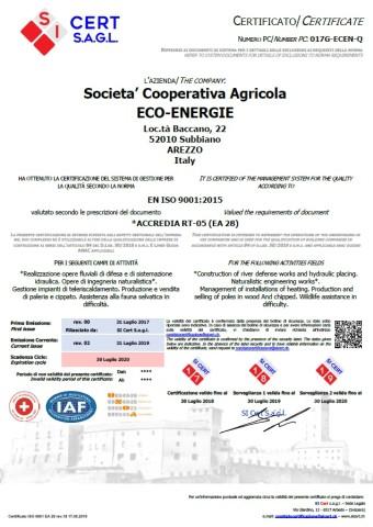 Certificato ISO 9001 ECO-ENERGIE